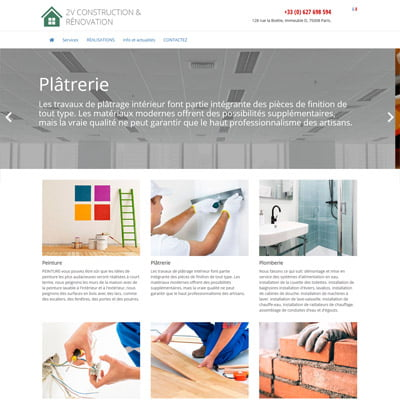 Разработка сайта-визитки для компании по ремонту квартир 2vconstruction-renovation.fr